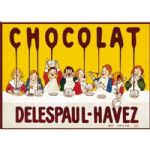 FRENCH VINTAGE METAL SIGN PLAQUE 40x30cm RETRO AD DELESPAUL HAVEZ CHOCOLATE